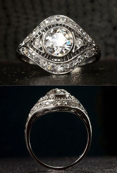 1920s Art Deco 1.00ct Old European Cut Diamond (I/J VS2) Filigree Diamond Ring, ~0.50ctw Single Cut Diamonds, Platinum