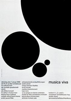 Tonhalle-Gesellschaft Zürich / Musica Viva / Poster / 1958
