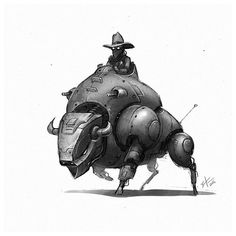 I'm gona give this years March of robots a serious go. #marchofrobots #robot #animals #art #instagood #instaart #conceptart #characterdesign #draw #illustration #bison #sheriff #drawing