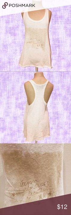 Truly Madly Deeply Graphic Racerback Tank Graphic Racerback Tank  — Brand: Truly Madly Deeply by Urban Outfitters  — Size: XS - runs large  — Color: Cream — Open Side Slits — Intentionally Frayed Hems — Graphic: Scribbles and Tally Marks  — EUC: Excellent Used Condition  🔅Offer what you find fair Urban Outfitters Tops Tank Tops