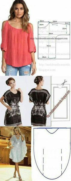 Discover thousands of images about Modelo simple del verano ropa de mujer Sewing Dress, Diy Dress, Sewing Clothes, Diy Clothes, Clothes For Women, Clothes Refashion, Blouse Dress, Summer Clothes, Clothing Patterns