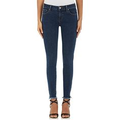 IRO Women's Jarod Distressed Skinny Jeans ($215) ❤ liked on Polyvore featuring jeans, blue, skinny jeans, frayed hem skinny jeans, zipper jeans, destructed jeans and destroyed skinny jeans