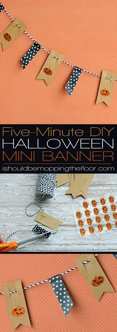 DIY Five-Minute Halloween Mini Banner   Simple and fun to hang anywhere and everywhere!