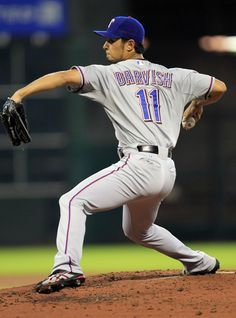 Texas Rangers starting pitcher Yu Darvish pitches against the Houston Astros during the fourth inning at Minute Maid Park.