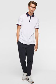Image 1 of CONTRAST PIQUÉ POLO SHIRT from Zara Camisa Polo, Pique Polo Shirt, Gifts For Dad, Contrast, Dads, Normcore, Sporty, My Style, Mens Tops