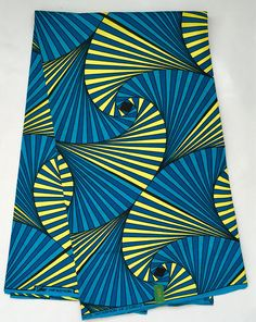 African Print Fabric/ Dutch Wax/ Ankara Blue Teal Yellow