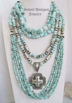 Schaef Designs larimar & sterling silver necklace set | New Mexico