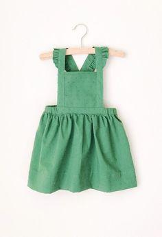 Handmade Green Swiss Dot Pinafore Holiday Dress | sewlovedco on Etsy #christmasdress #holidayoutfit