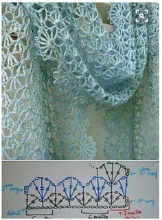 Crochet : in one piece in rows (turning at each row) avant blocage => après blocage edging will add 4 to 5 cms Crochet Shawl Diagram, Crochet Lace Scarf, Pull Crochet, Mode Crochet, Crochet Shawls And Wraps, Crochet Scarves, Crochet Clothes, Crochet Stitches, Knit Crochet