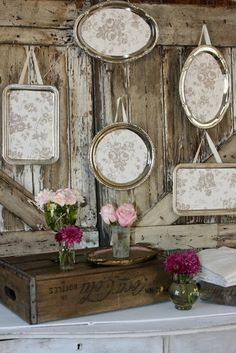 Shabby Vintage Trays - Ooooo have lots of these - been wondering what to do with them..,.