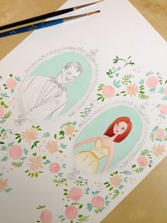 Jennifer and Zachary's portrait is coming along nicely! Lots of blush, coral, and mint. Jolly Edition custom wedding illustrations and stationery