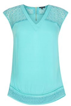Tops   Green Embroidered Organza Insert Top   Warehouse