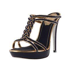 Beautiful Black & Gold Twisted Strap Rene Caovilla Heels