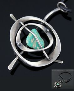 Pendant necklace | Walter Rhodes. Sterling silver, turquoise, leather. 1950.