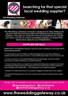 The Wedding Gateway are a network of local supplier sites across the UK. Find your local site at www.theweddinggateway.co.uk Unique Weddings, Finding Yourself, Groom, Good Things, Grooms, Soul Searching, Unique Wedding Favors