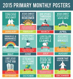 These ADORABLE posters are intended to be displayed throughout the year to display each months primary theme and scripture. These are