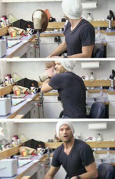 [gifset] Hide the wig! Hide it: Jared Padalecki, #SPN Mockumentary
