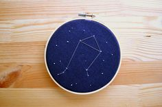 **More constellations are on their way!  Libra constellation  Size: 5 inch hoop  Details: Hand stitched, metallic silver constellation design on