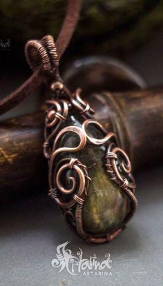 Labradorite copper wire wrapped necklace.