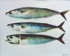 Buy Three Mackerel Fish, Watercolours by Teresa Tanner on Artfinder. Discover thousands of other original paintings, prints, sculptures and photography from independent artists. Watercolor Paintings For Sale, Watercolor Fish, Original Paintings, Paintings Of Fish, Mackerel Fish, Smoked Mackerel, Spanish Mackerel, Gcse Art Sketchbook, Sketchbooks