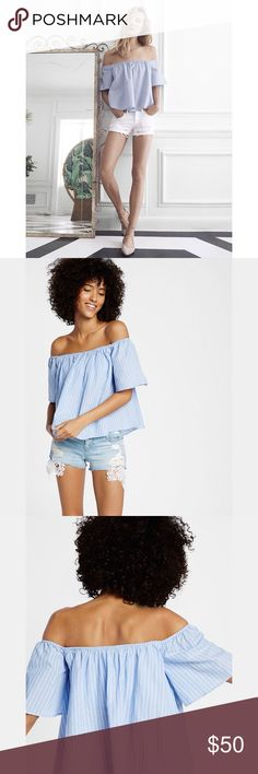 ✨ Blue Thin Stripe Off The Shoulder Top✨ ✨ A built-in smocked bandeau adds structure and security to this off-the-shoulder top decked in soft stripes for seaside vibes. Fluttery, airy cotton feels light as air over denim leggings or cutoff shorts. Off the shoulder elastic neckline Short sleeves; Semi-sheer fabric Smocked bandeau inset Straight hem Cotton Machine wash Imported✨ Express Tops