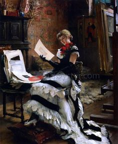 Chez l'Artiste (also known as Les Gravures) by Albert Edelfelt - Hand Painted Oil Painting