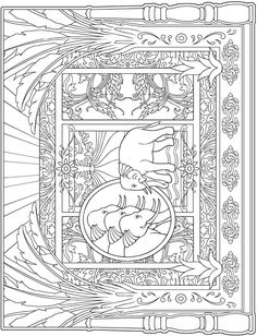 Escapes Collage Art Coloring Book Page Freebie | Dover Publications New Adult Coloring Series | Intricate Elephants