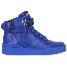 Moschino Women 35mm Leather High Top Sneakers ($550) ❤ liked on Polyvore featuring shoes, sneakers, royal blue, eyelets shoes, rubber sole shoes, moschino shoes, leather shoes and leather trainers