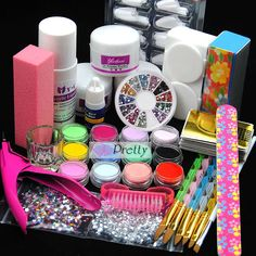 Pro 12 Color Acrylic Powder Liquid Nail Art Tips Glue Brush File Clipper Kit Set