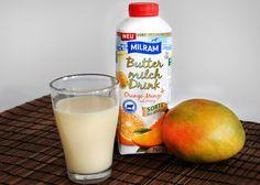 Diese Buttermilch schmeckt fruchtig-frisch nach Mango und Orangen. Und fettarm ist sie auch - also ein perfekter Durstlöscher für den kommenden Sommer!