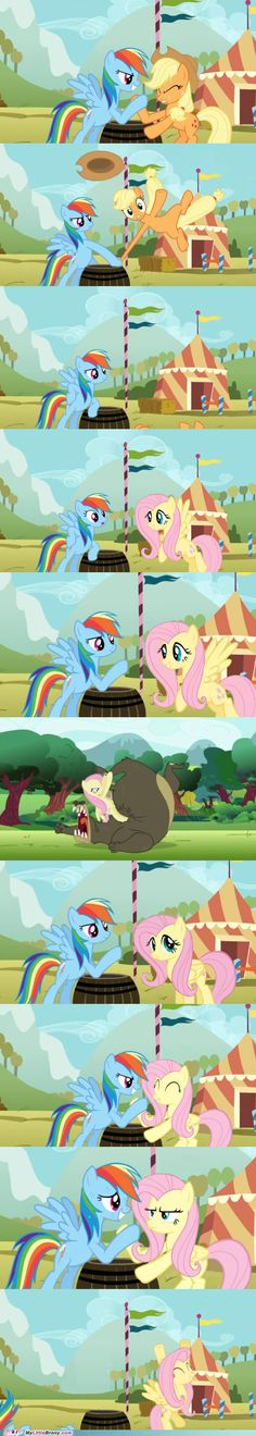 XD I actually think Applejack would have won, with all that applebucking and harvesting and farming she does. HAHAHA Fluttershy. XD