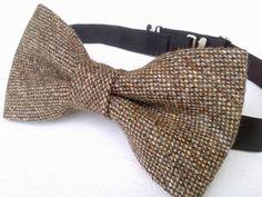 Men's brown tweed bow tie handmade tweed bow by KristineBridal, $39.99
