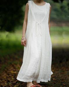 White Layer String Loose Linen Dress