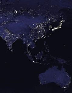 Image: NASA  Asia and Australia at night This image was taken from a composite picture of the Earth at various times of the night.