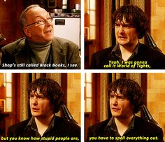 """Shop's still called Black Books, I see. Dylan Moran, Love Sarcasm, Secret Lovers, British Comedy, Comedy Show, Great Tv Shows, Television Program, Black Books, Misfits"