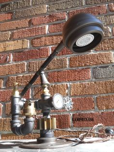 La Balançoire, lampe industrielle steampunk Steampunk Lamp Industrial Création lampeclair