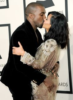 Kim Kardashian, in a sequined gown and fresh haircut, and Kanye West attended the 2015 Grammy Awards in Sunday, Feb. 8, in Los Angeles; see the sizzling couple on the red carpet