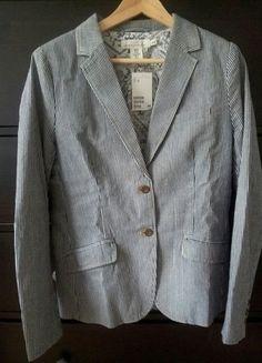 Kaufe meinen Artikel bei #Kleiderkreisel http://www.kleiderkreisel.de/damenmode/blazer-blazer/69610350-hm-blazer-blauweiss-gr40-neu-mit-etikett