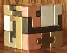 Mini-Conundrum Metal Cube Puzzle Sculpture by GarE Maxton
