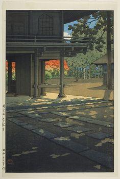 Vintage Japanese Woodblock Print Colorful Fall Trees Shinto Shrine Japanese Architecture Art Print by EnShape - X-Small Japon Illustration, Japanese Illustration, Japanese Architecture, Architecture Art, Art Chinois, Art Asiatique, Art Japonais, Japan Art, Japan Japan