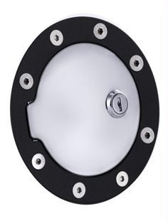 All Sales Race Style Billet Fuel Dr 5 3-4 Ring O.D. 4 1-8 Door O.D.-Flat Black Ring and Chrome Locking Door