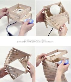 45 Easy and Creative DIY Popsicle Stick Crafts Ideas 45 Easy and Creative DIY Popsicle Stick Crafts Easy and Creative DIY Popsicle Stick Crafts IdeasAs children, we all loved when someo Diy Popsicle Stick Crafts, Popsicle Sticks, Diy Home Crafts, Diy Home Decor, Wood Crafts, Diy Deco Rangement, Luminaire Original, Creation Deco, Wooden Lamp