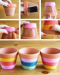 Flower Pots Do It Yourself - yarn wrapped flower pots! Add some bright color to your flower pots with this easy to do fun craft.Do It Yourself - yarn wrapped flower pots! Add some bright color to your flower pots with this easy to do fun craft. Flower Pot Crafts, Clay Pot Crafts, Crafts To Do, Crafts For Kids, Arts And Crafts, Diy Crafts, Diy Flower, Crafts With Yarn, Flower Pot Art