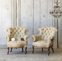 Napoleon III Bergeres in Original Tufted Muslin Upholstery from Provence, Circa 1880 ELOQUENCE®
