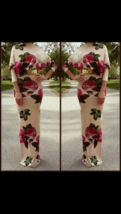 Floral Bodycon Maxi Dress - Summer Roses - Long Sleeves