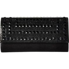 Jessica McClintock Chloe Shimmer with Stones Clutch (Black) Clutch... ($35) ❤ liked on Polyvore featuring bags, handbags, clutches, black, jessica mcclintock purse, studded clutches, strap purse, chain purse and imitation handbags