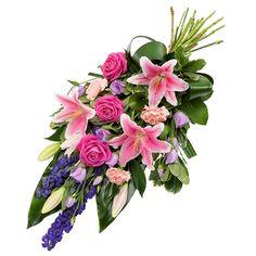 Rouwboeket paars en roze Bouquets, Flower Arrangements, Floral Wreath, Wreaths, Shop, Home Decor, Floral Arrangements, Dining Room, Flowers