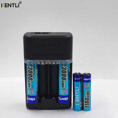 KENTLI 1.5v 2pcs 3000mWh AA  2pcs 1180mWh AAA rechargeable li-ion polymer lithium battery + Intelligent Fast Charger