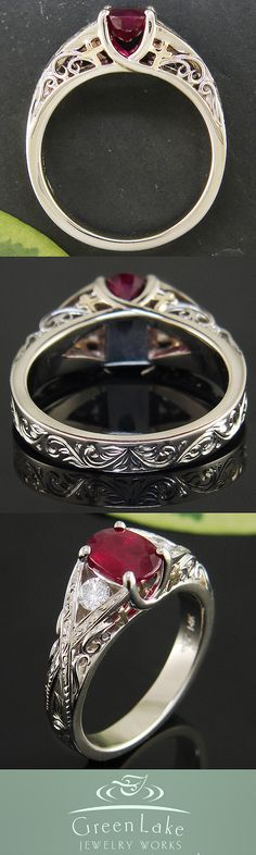 White gold and diamond ring with ruby center