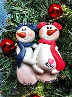 Personalized Snowman Family Expecting Pregnant Couple Girl Christmas Ornament